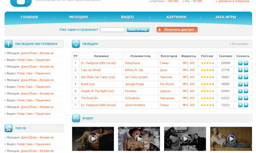 Full Stack Web Development on CMS WebAsyst of Exclusive Content for Mobile Phones Vse-V-Mobilnik
