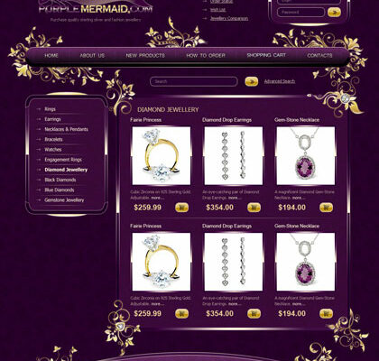Web Design with Logo and its HTML Coding for Jewelry Online Store Purple Mermaid