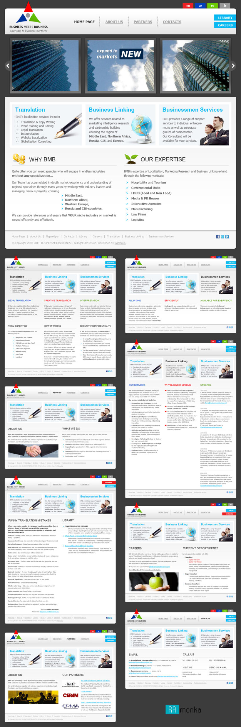 Full Stack Web Development on CMS Joomla for Multilingual Business Company Business Meets Business