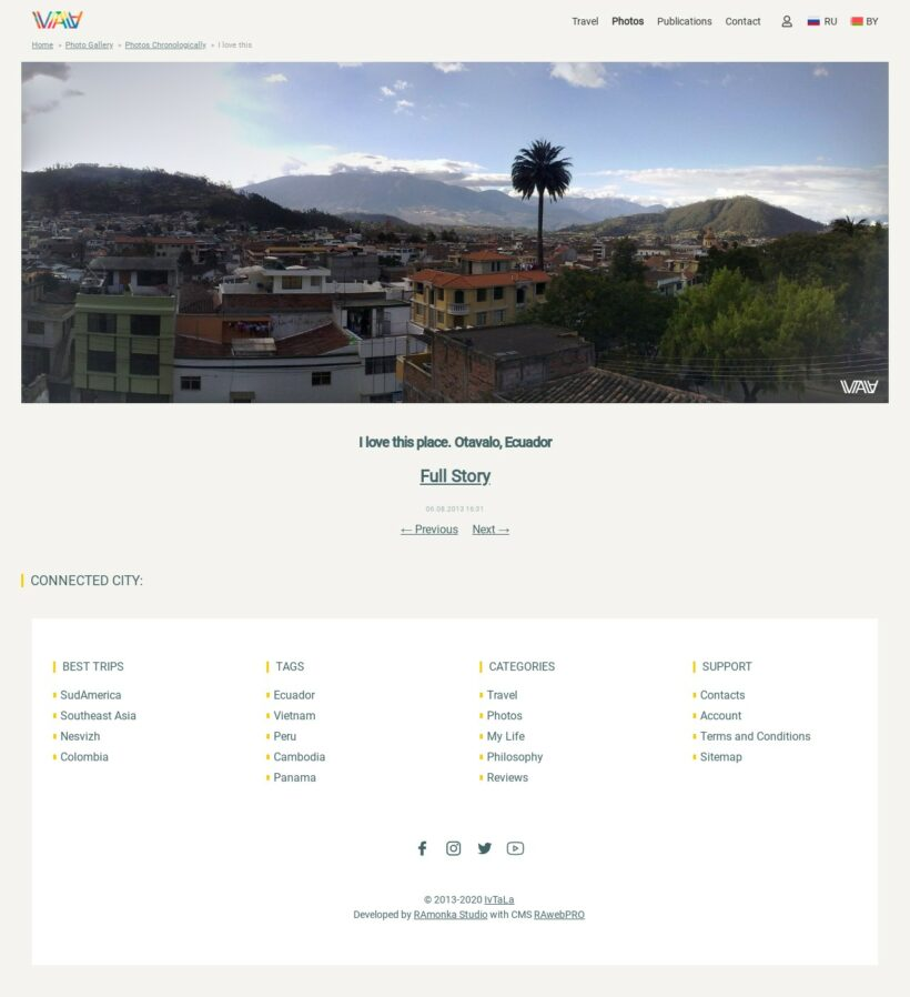 Full Stack Web Development for Traveling Writer IVTALA on CMS RAwebPRO