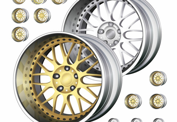 Vector Illustration of Car Rims for Auto Parts Store Avtica