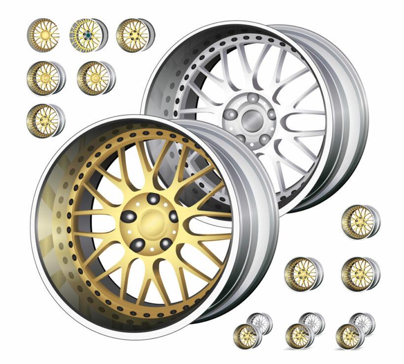 Vector Illustration of Car Rims for Auto Parts Store Avtica