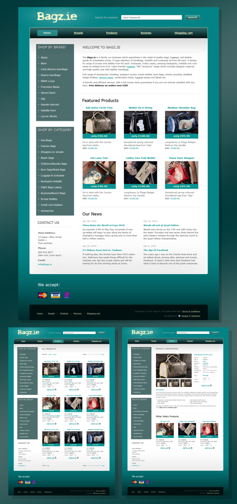 Web Design with Logo and HTML Coding for Bag Online Store Bagz