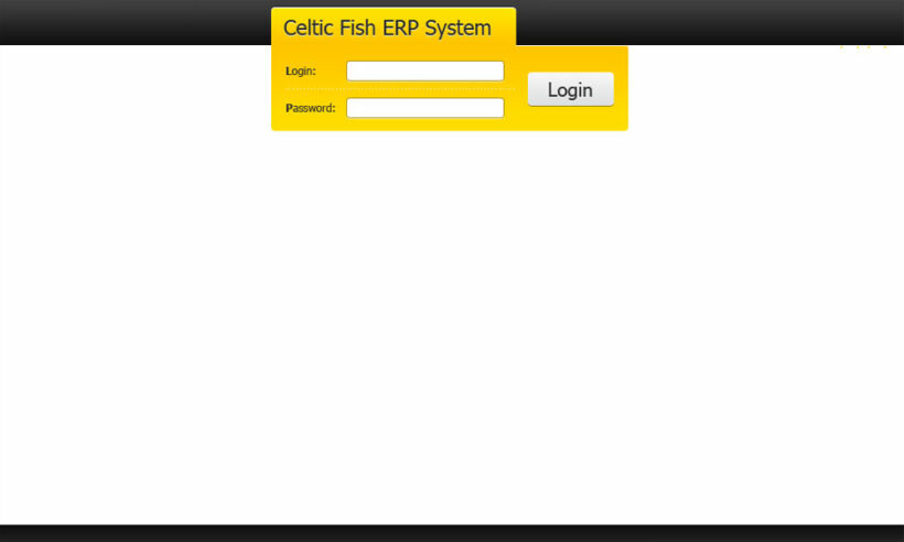 Web Design and its HTML Coding of Product Accounting System Interface CELTIC FISH ERP SYSTEM
