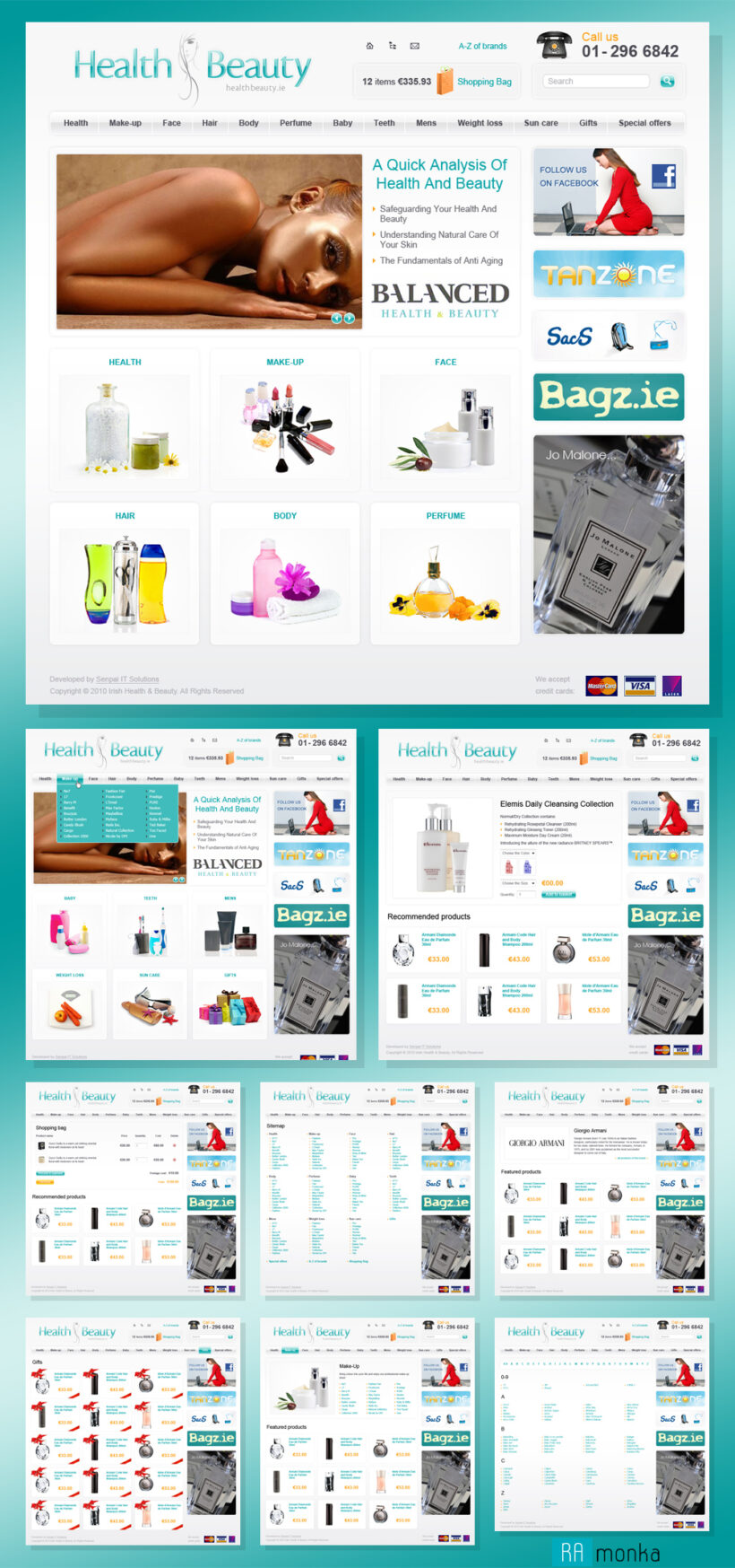 Web Design and its HTML Coding for Beauty and Health Products Online Store Irish Health and Beauty