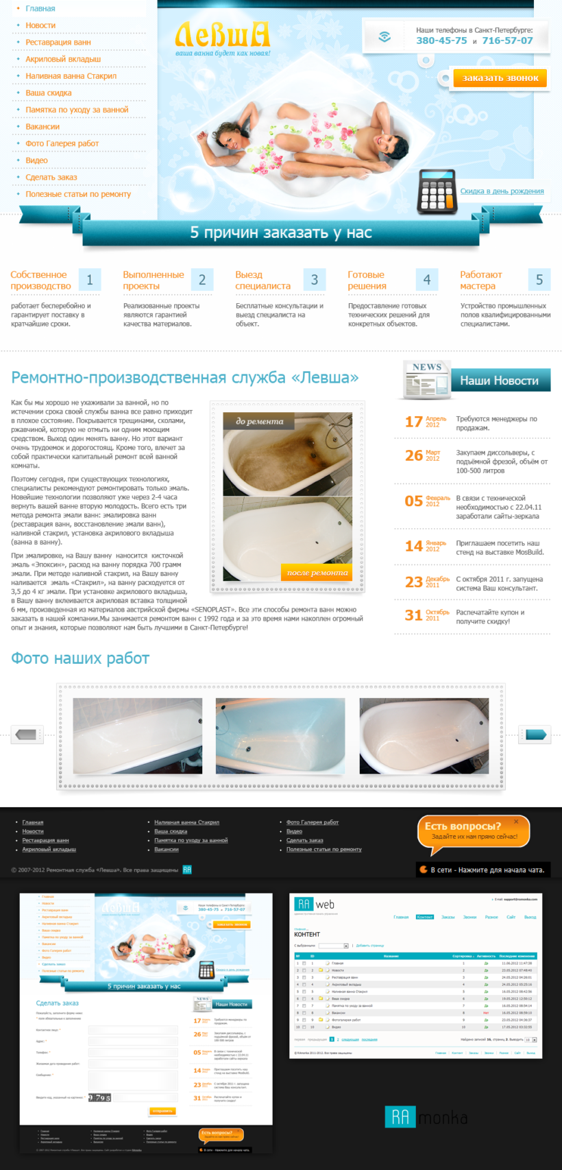 Full Stack Web Development  on CMS RAwebPRO for Repair and Production Service Levsha