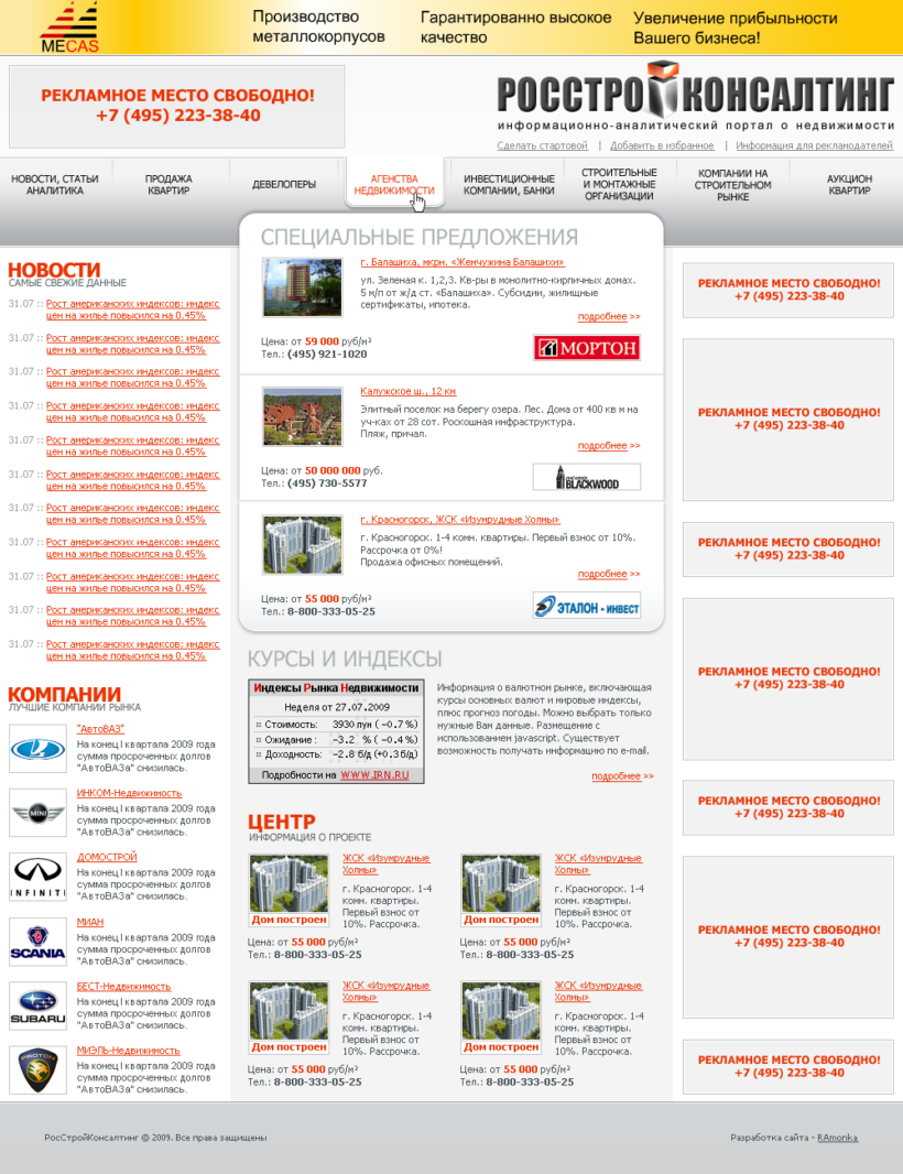 Full Stack Web Development on CMS RAwebPRO for Real Estate Information and Analytical Portal RosstroyConsulting